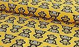 Qualitativ hochwertiger Jersey Stoff mit Affen auf Senf als