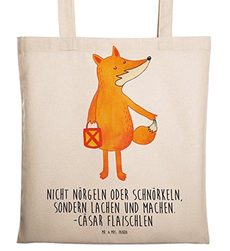 Mr. & Mrs. Panda Stofftasche, Tasche, Tragetasche Fuchs Laterne mit Spruch - Farbe Transparent