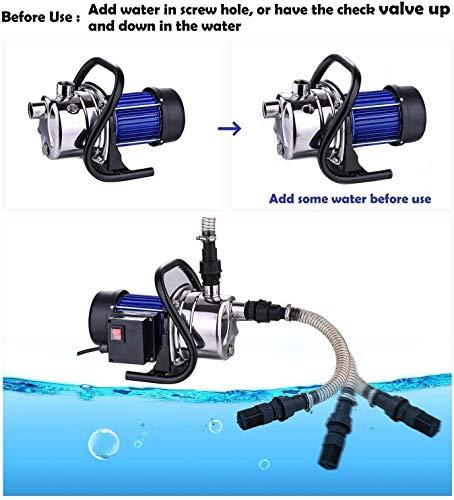 Homdox 1.6HP Stainless Shallow Well Pump Booster Pump Lawn Sprinkling Pump Sprinkler Water Pump for Home Garden Water Transport Irrigation
