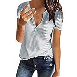 vendita 2019 nuovo donna scollo a v manica corta festa, donne sommer beiläufige suddivisa maglia a nido d'ape in pizzo camicie tunica s grau