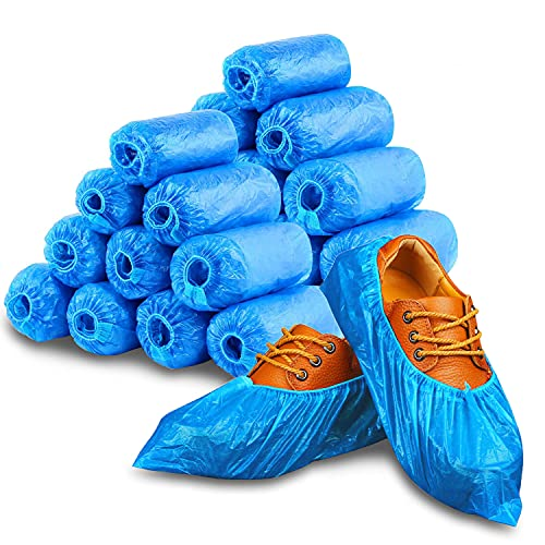 Shoe Covers Disposable - 200 Pack (100 Pairs) Disposable Shoe & Boot Covers Waterproof Non Slip Shoe Booties Durable Boot & Shoes Cover, One Size Fits Most, Blue