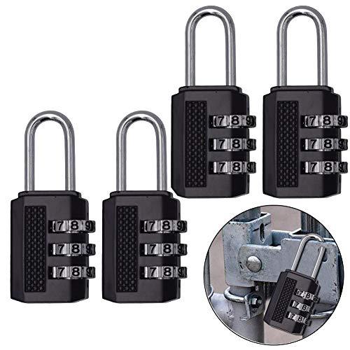 4 Pcs Candados Combinación, 3 dígitos Candado de Seguridad de Viaje para Maletas de Viaje Estuche para casilleros Mochila de Gimnasia Paquete - Negro