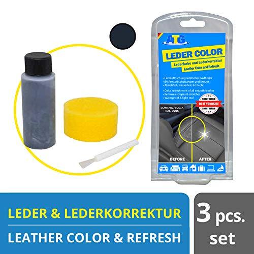 ATG Lederfarbe inkl. Schwamm - beseitigt Kratzer, Abschürfungen und Abnutzungen auf Leder und Kunstleder- Farbe schwarz