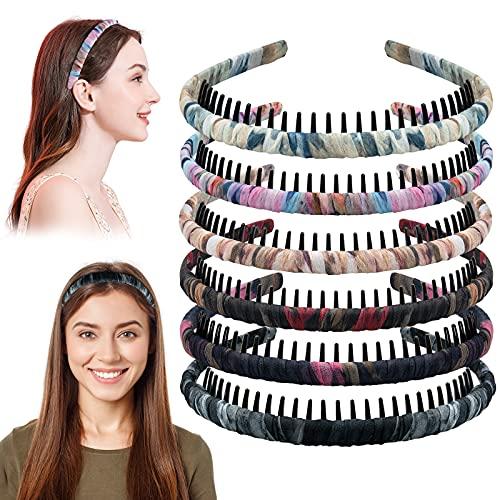 6 Stück Satin Kunststoff Stirnbänder Zähne Kamm Haar Hoop, Kopfband mit Zähnen Stirnband für Frauen und Mädchen, Plastik Bedeckt Haarreifen Kopfbedeckungen Haarband 6...