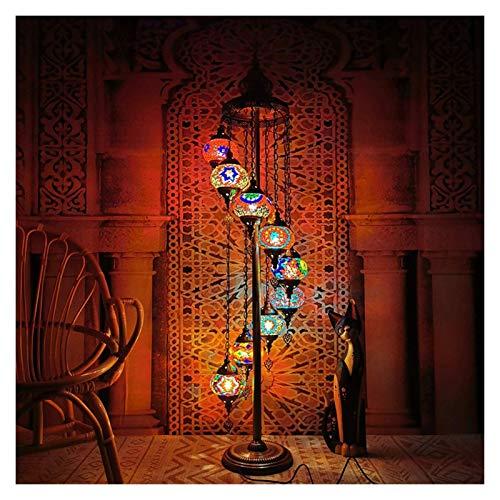 Yxxc Lámpara de pie arqueada Moderna Lámparas de pie Lámpara de pie de Estilo Turco de Clase Alta, Pantalla de Cristal Manchado, Luz de pie Vintage para sa