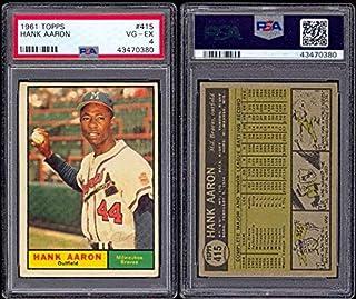 1961 Topps Regular (Baseball) card#415-psa Hank Aaron psa of the Milwaukee Braves Grade very good/excellent