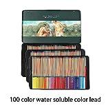 Marco Renoir Fine 100 colores solubles en agua juego de lápices de dibujo no tóxicos, pintura de madera de estaño artista bosquejando artesanía grafito con caja de hierro.