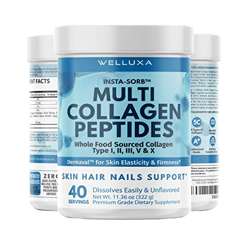 Multi Collagen Protein Powder for Women (8g/Scoop) - 5 Hydrolyzed Collagen Peptides - Types I, II, III, IV, and X – Supports Joints, Skin, Hair and Nails - Non-GMO, Gluten-Free, Unflavored, Odorless