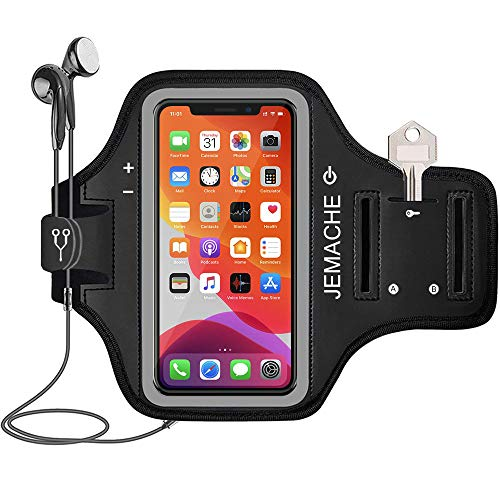 """iPhone 12, 12 Pro, 11 Pro, X, XS Armband, JEMACHE Water Resistant Gym Workouts Running Arm Band Case for iPhone X, XS, 11Pro (5.8""""), iPhone 12, 12Pro (6.1"""") with Card Holder (Black)"""