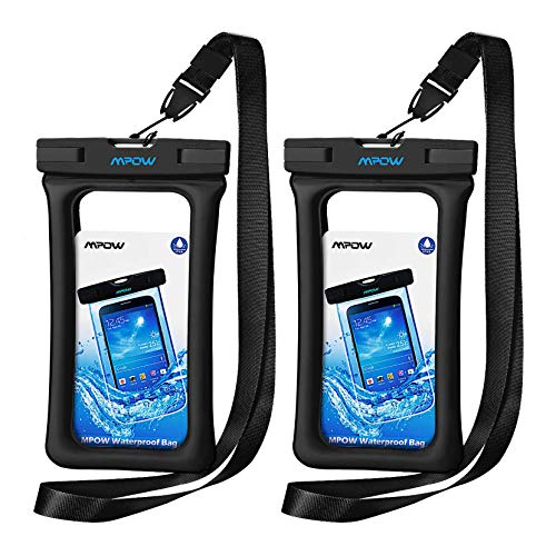 "Mpow 084 Waterproof Phone Pouch Floating, IPX8 Universal Waterproof Case Underwater Dry Bag Compatible iPhone 11 Pro Max/XS Max/XR/X/8P/7P Galaxy S10/S9 Note 10/9 Google Pixel Up To 6.5"" (Black,Black)"