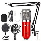 ZINGYOU Microfono de Condensador Kit, BM-800 Micro Set Estudio Profesional, Micrófono Escritorio con Pie&Brazo para PC,Grabar,Gaming,Podcast