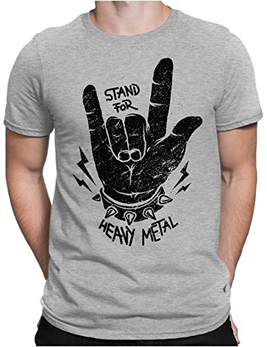 PAPAYANA - Stand for Heavy Metal Black - Herren Fun T-Shirt Bedruckt - Music Band Punk Rock - 3XL - Grau Meliert
