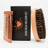 MISSION BEARD GROOMING CO. 100% Boar Bristle Beard Brush & Comb Set - Exfoliates Skin, Tames The Wildest Beards & Promotes Beard Growth