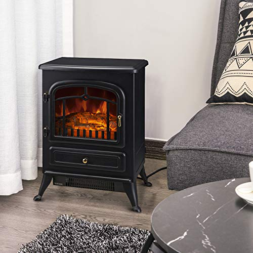 HOMCOM Freestanding Electric Fireplace Heater with Realistic LED Log Flames and Automatic Timer, 750/1500W, Black