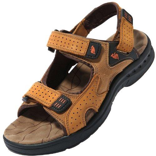 Dayiss® Herren Leder Sandalen Sport- & Outdoor Schuhe Sandaletten (43, Gelb)