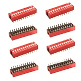 OdiySurveil 12P Double Row Dip Switch Assorted Kit,Red DIP Switch 2.54mm Pitch for Arduino Circuit Breadboards...