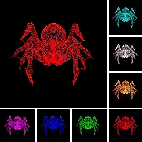 3D nachtlampje led spider illusie lamp decoratie bedlampje ideaal geschenk voor kinderen jongens en meisjes zoals op verjaardagen of kerstvakanties