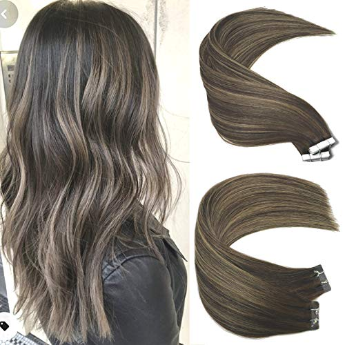 Brown Hair Extensions 50g 20Pcs 22inch Tape In Hair Extensions Human Hair Ombre Dark Brown Thick End For Full Head No...