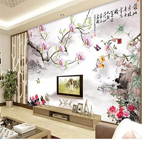 Dalxsh Wellyu Chinese magnolia Tuschemalerei Chinese schilderij Chinese televisie achtergrond muurschildering aangepaste grote muurschildering groen behang 280 x 200 cm.