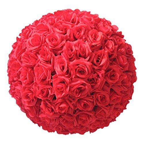 Yamalans 8 Inch Wedding Artificial Rose Silk Flower Ball Hanging Decoration Centerpiece
