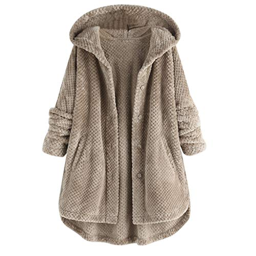 Forthery Hooded Faux Fur Coats for Women Long Teddy Bear Jacket Button Fluffy Pullover Loose Sweater(Gray,L)