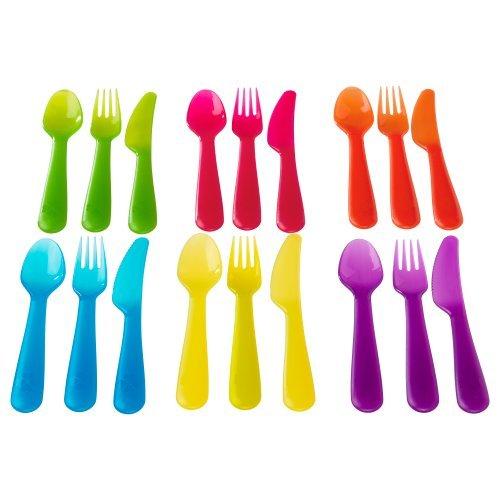 NewBorn, Baby, IKEA - KALAS Children Colorful 18 Piece Cutlery Set New...