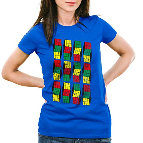 style3 Sheldon Cubo Camiseta para Mujer T-Shirt, Color:Azul, Talla:L
