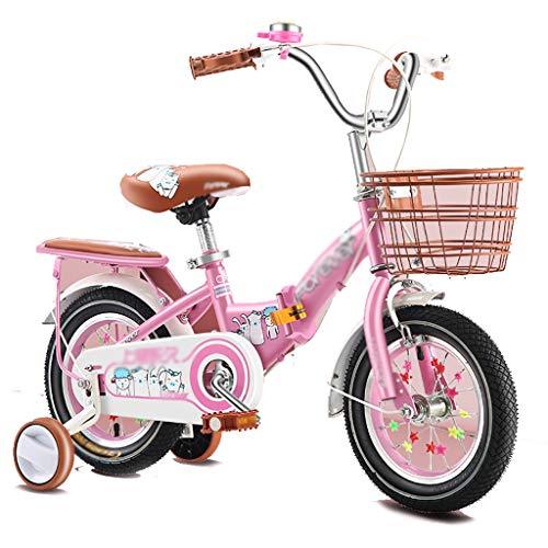 GAIQIN Durable Premium Safety Sport Kids Bike 12/14/16/18/20 Pulgada Pedal Plegable Bicicleta para niñas, con Ruedas de Entrenamiento y Frenos de Mano y Cesta (Color : Pink, Size : 12inch)