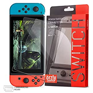 Nintendo Switch Screen Protector Glass (Pack of 2), Orzly Tempered Glass Screen Protector for Nintendo Switch