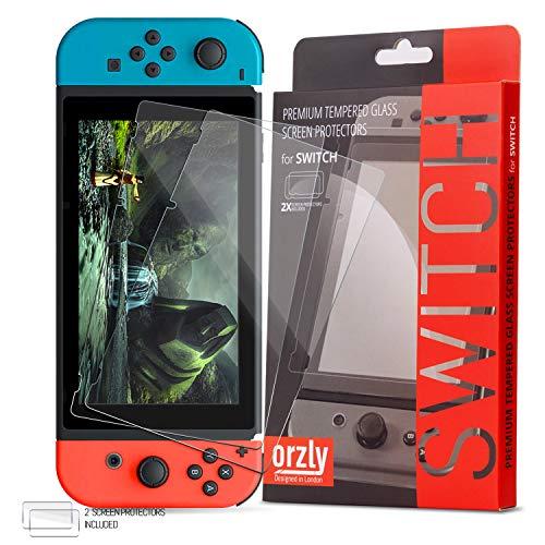 Nintendo Switch Displayschutzfolie Glas (2 Stück), Orzly Panzerglas Schutzfolie für Nintendo Switch