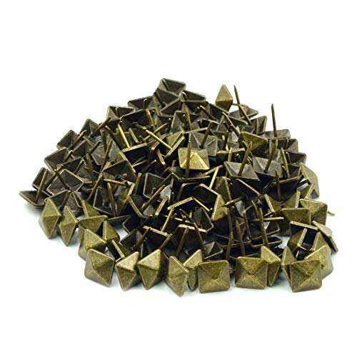 ZXHAO Square Head Antique Upholstery Nails Tacks Furniture Nails Pins Green Bronze Tone 12x12mm 150Pcs