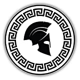 Pegatina de vinilo con diseño de casco espartano, 12 x 12 cm