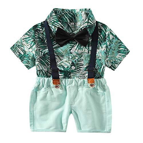 TTLOVE Sommer Kinder Kleidung Kleinkind Baby Boys Gentleman Infant Tops T-Shirt HosenträGer Strap Shorts Set Outfits Hawaii Hemd Strand Drucksatz (Grün,80)