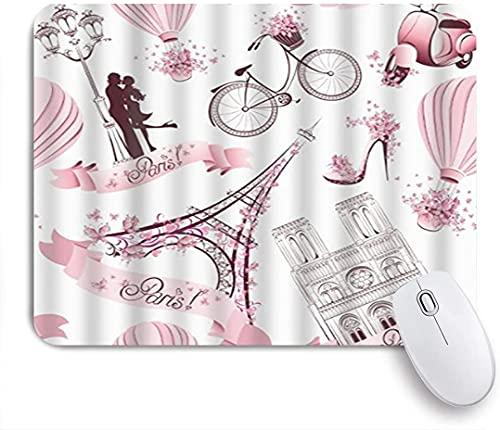 HARXISE Alfombrilla Gaming,Rosa Torre Blanca Retro Torre Eiffel,Francia,con Base de Goma Antideslizante,240×200×3mm