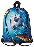 Aminata Kids - Kinder-Turnbeutel für Mädchen und Junge-n mit für Echt-e Sport Fan-Artikel Ecke-n Motiv verstärkt WM Fussball Sport-Tasche-n Gym-Bag Sport-Beutel-Tasche blau…