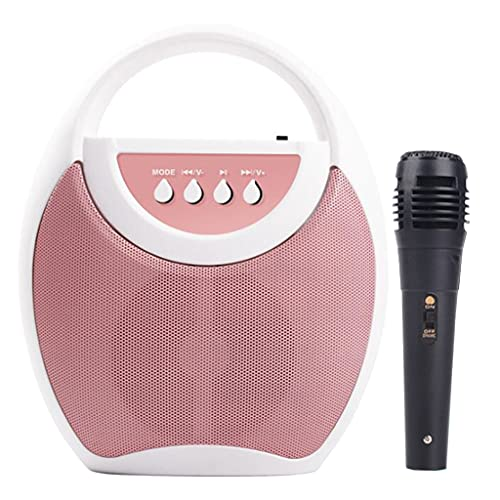 N\C Máquina de Karaoke para niños con micrófonos, Reproductor de música para niños con Canciones precargadas y Bluetooth, máquina de Canto de conexión - Rosado