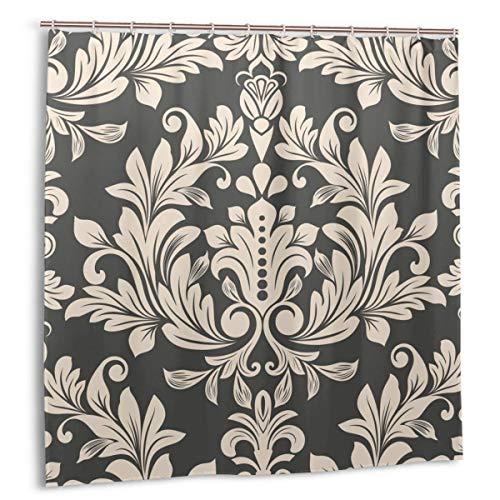 Starodec Duschvorhang, Dunkelbraun & beige Vintage Tapetenmuster Vektor-Illustration. Badvorhang Set mit Haken 72 x 72 Zoll