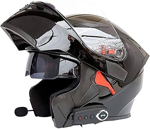 Bluetooth Integrado Casco de Moto Modular,Cascos De Motocicleta ECE Homologado,Casco De Moto Modular con Doble Visera,Unisex para Respuesta Automática Hombres Mujeres Casco B,L=59~60CM