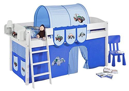 Lilokids Spielbett IDA 4105 Trecker Blau-Teilbares Systemhochbett weiß-mit Vorhang Kinderbett, Holz, 208 x 98 x 113 cm