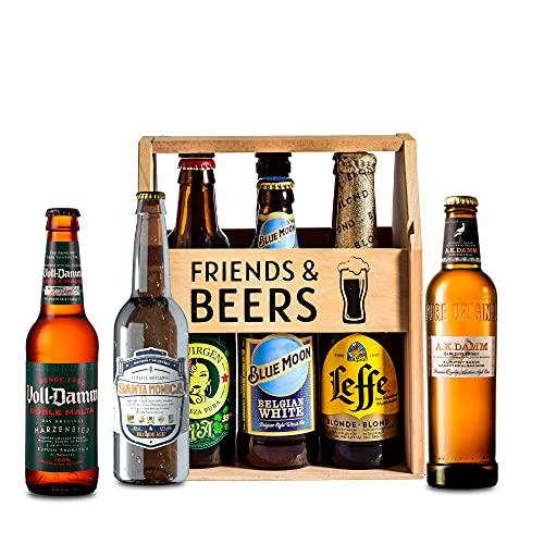 Caja de cervezas de madera para regalo degustación -Edición Oro - La Virgen, Blue Moon, Santa Monica, Leffe, Voll Damm, A.K Damm I Selección para regalar y disfrutar.