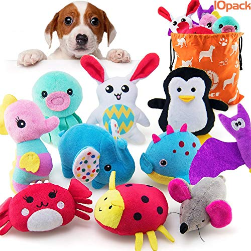 AWOOF 10 Pack Dog Squeaky Toys for Puppy, Stuffed Plush Puppy Chew Toys Set with Squeakers for Small Medium Dogs