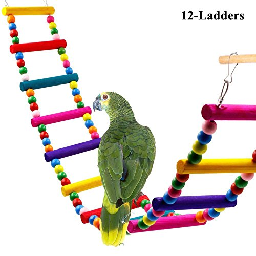 ALPHA DIMA 12-Ladder Jouet Oiseau Oiseaux Montée Colorée Mise à l'échelle échelle Avec Des Crochets Pour Perroquet Jouet Oiseau Cage Installation