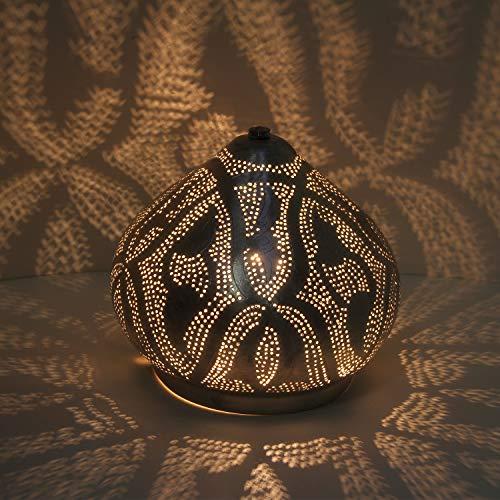 Casa Moro Orientalische Tischleuchte marokkanische Stehlampe Qahira D22 Silber in Tropfenform mit E14 Fassung | Echt versilberte Messinglampe Bodenleuchte stehend | Kunsthandwerk aus Marokko | ESL2075
