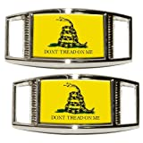 Gadsden Don't Tread on Me Tea Party Shoe Sneaker Shoelace Charm Rectangular Decoration - Set of 2