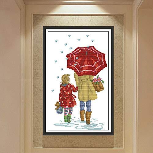 Kruissteek paraplu onder moeder en dochter houden van woonkamer slaapkamer karakter serie borduurwerk schilderij kunstenaar Resission decoratie slaapkamer woonkamer geschenk ornamenten HD beeld Egyptian cotton 14ct 2 white cloth @@_8