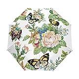 Paraguas automático Lleno de la Mariposa Mujeres Niños Parasol Plegable de Tres Flor Paraguas Paraguas Plegable (Color : Full Automatic)