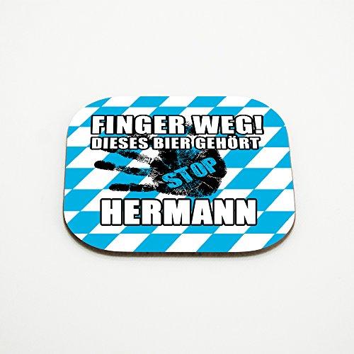Untersetzer für Gläser mit Namen Hermann und schönem Motiv - Finger weg! Dieses Bier gehört Hermann