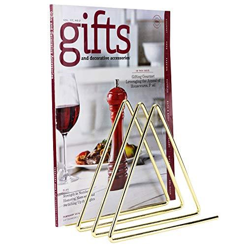 MyGift 3-Slot Desktop Triangular Gold-Tone Wire Metal Magazine, Book & File Sorter with 3-Slots