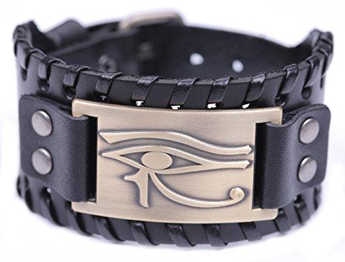 Teamer, braccialetto vintage in pelle con occhio di Horus, stile talismano egiziano pagano e Lega, colore: Bronzo antico, nero.