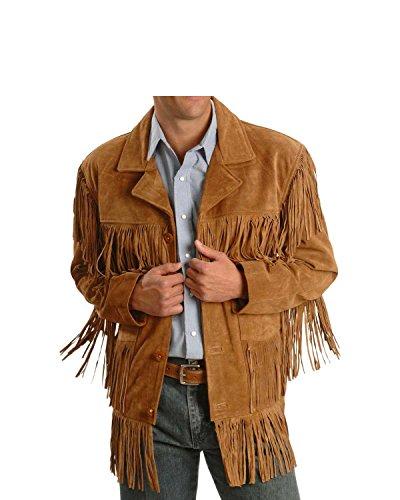 Men Western Fringe Jackets Men Brown Fringe Jacket Men Cow BOY Suede Jacket (XL)